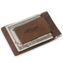 MS Vintage herren Crazy Horse Echtes Leder Kreditkarte ID halter Mit Starken Magnet Geld Clip Münze Brieftasche K320 Freies verschiffen
