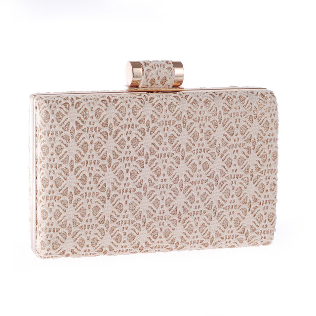 New 2017 Hollow Out Lace Evening Clutch Bags for Women Elegant Designer Chain Flap Bags Wedding Party Mini Bridal Clutches Q243