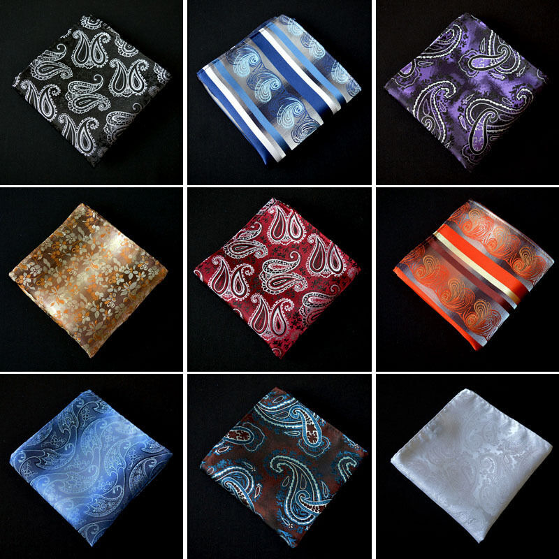 Men Fashion Paisley Floral Pocket Square Wedding Party Handkerchief Hanky YXTIE0001