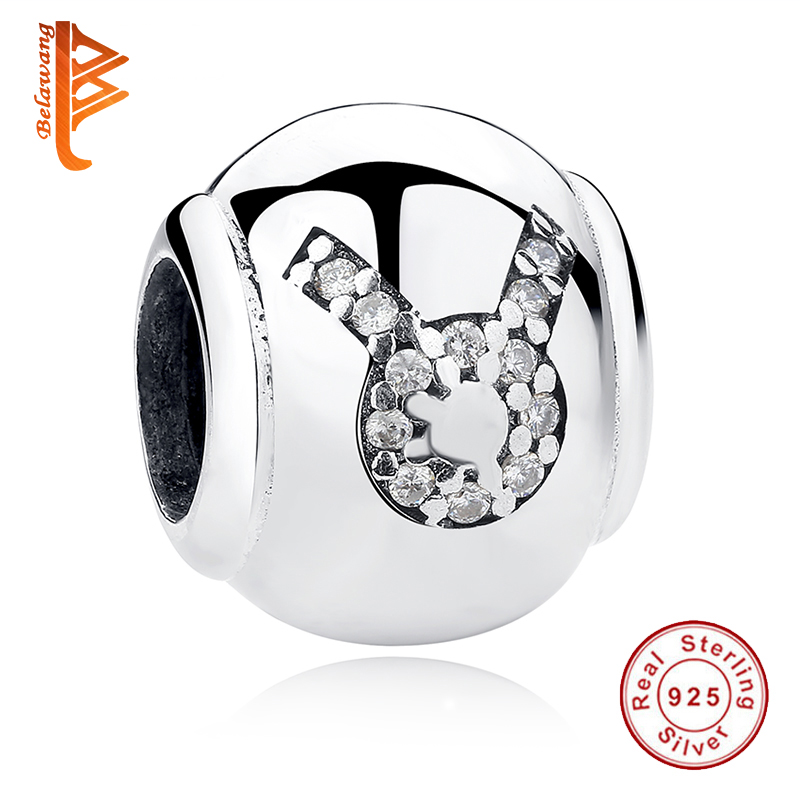 d9ca10d5b 925 Sterling Silver Zodiac Signs Constellation Taurus Star Charm Fit  Original Pandora Bracelet Necklace DIY Original Jewelry-in Beads from  Jewelry ...