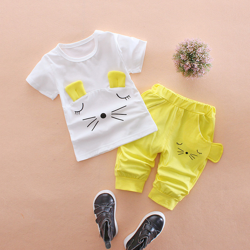 Baby Girl Clothes 2017 Summer Cute Kitty Short Sleeved T-shirt + Middle Pants Outfits Baby Boy Clothes Kids Bebes Jogging Suits