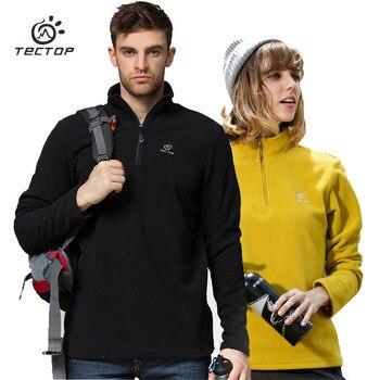 Real TECTOP chaqueta de lana de invierno hombres abrigo térmico mujeres medio zip ropa de abrigo a prueba de viento amantes cómodos suéteres de ocio