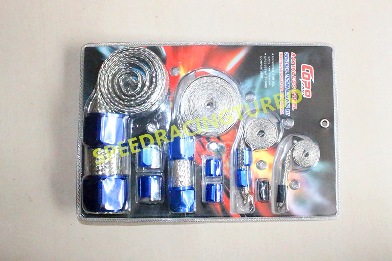 STAINLESS BRAIDED ENGINE/VACUUM/FUEL/HEATER/OIL LINE DRESS-UP HOSE SLEEVE BLUE