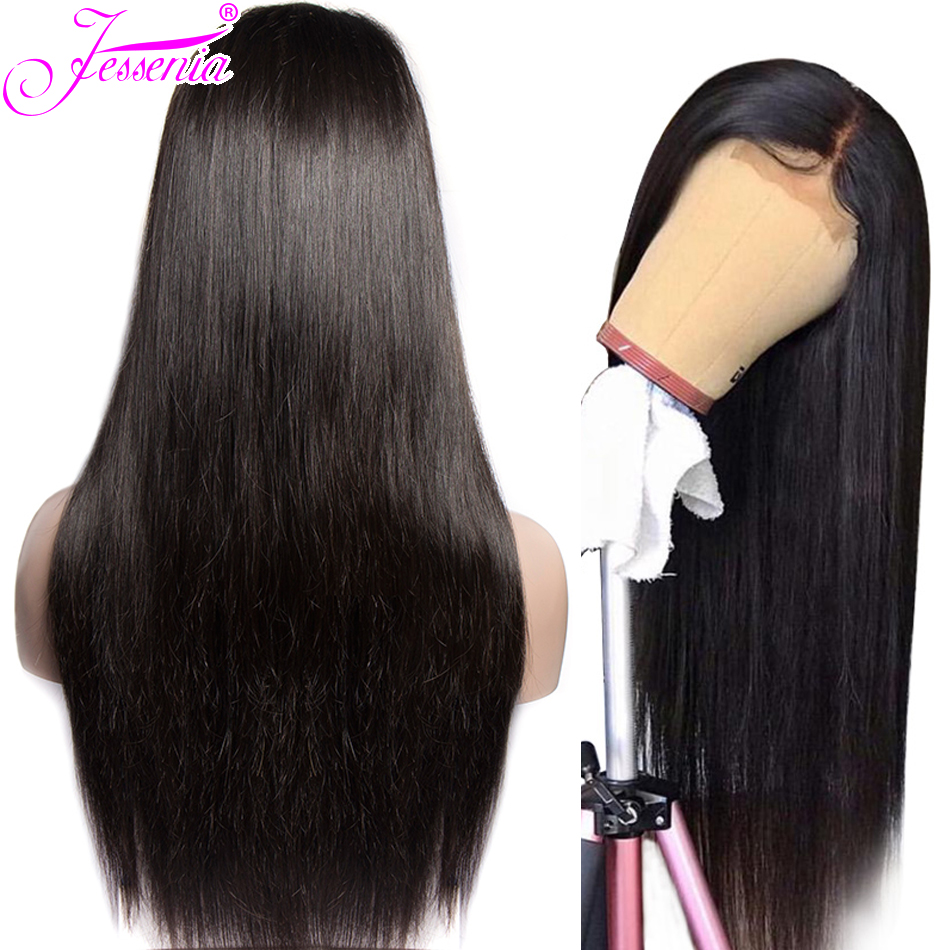 Straight Lace Front Human Hair Wigs For Black Women Malaysian 13x4 Remy Hair Lace Front Wigs Pre Plucked Bleached Knots
