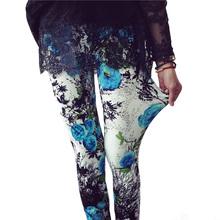 CUHAKCI drukowanie legginsy Plus rozmiar Legging wysokiej jakości Legging kobiet spodnie do fitnessu elastyczność kwiatowy drukowane Legging tanie tanio K090 Kobiety Kostek STANDARD Dzianiny High Street Poliester Drukuj Europe and the United States Nine minutes of pants leggings