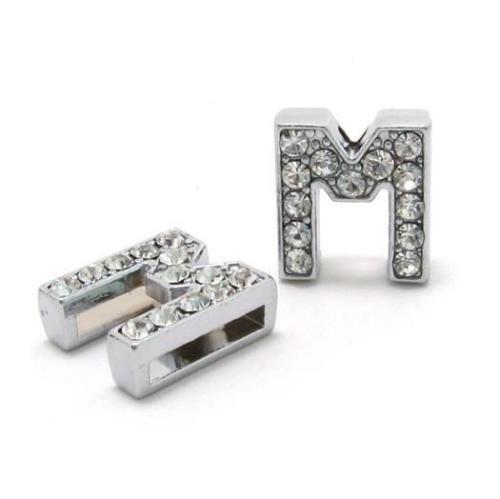 A-Z, 8 мм, стразы, кулон, буквы, подходят для DIY, подарок, шарм, кожаный браслет, браслет, пояс, ожерелье, ювелирные аксессуары - Окраска металла: M