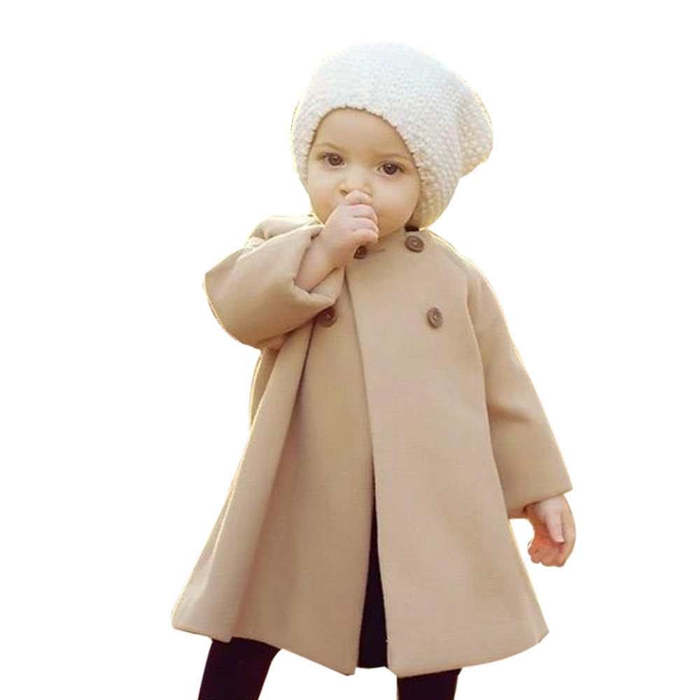 MUQGEW Autumn Winter Girls Clothes Kids Baby Outwear Cloak Button Jacket Warm Coat Clothes Girl Set Roupas Infantis QZ06 hot sale open front geometry pattern batwing winter loose cloak coat poncho cape for women