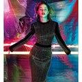 ВЫСОКОЕ КАЧЕСТВО Новая Мода 2016 Взлетно-Посадочной Полосы женской Одежде С Длинным Рукавом Роскошные Алмазы Бисероплетение Стретч Bodycon Платье Размер S-XXL