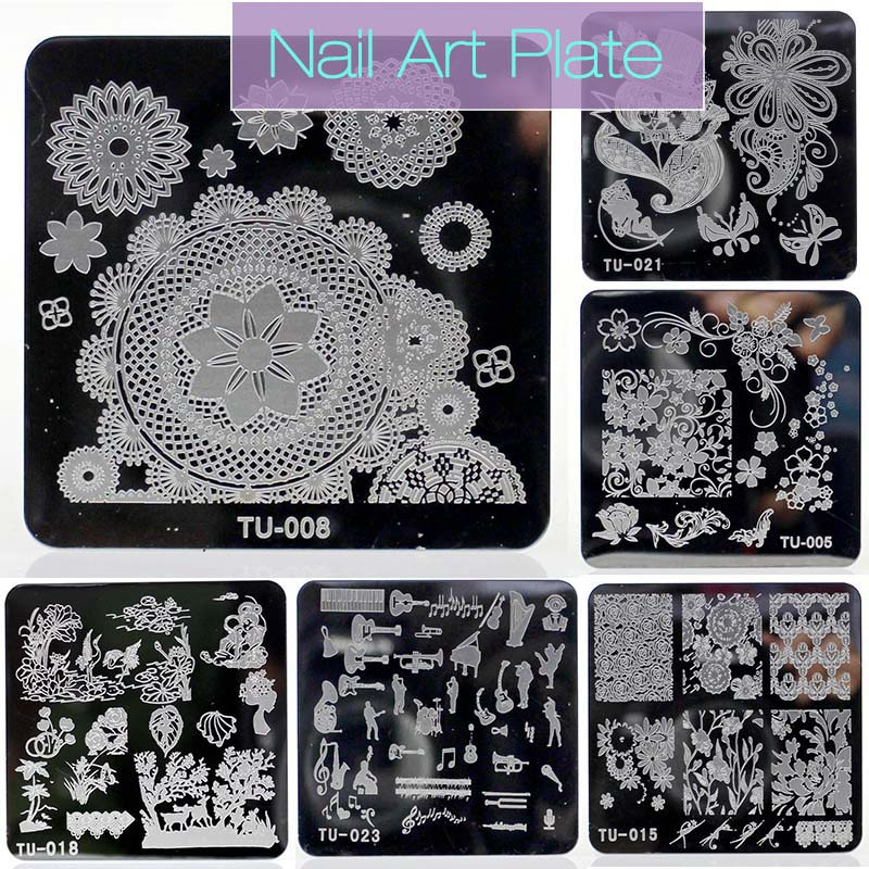 New Nail Stamping Plates Square Stainless Steel Nail Plates 6*6cm Nail Art Image Konad Print Stamping Manicure Beauty Gift Hot