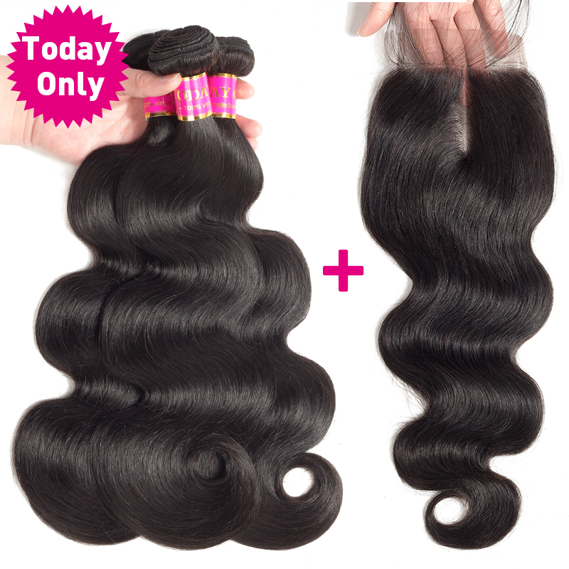 TODAY ONLY Brazilian Body Wave 3 Bundles With Closure Brazilian Hair Weave Bundles With Closure Human