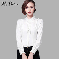 2018 Spring Women White Blouses Ruffles Turleneck Embroidery Vintage Lady Slim Office Shirt Formal Tops Blusa