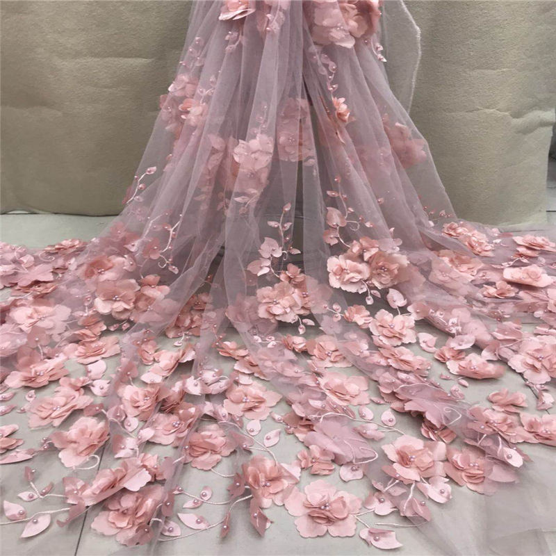 VILLIEA Very Good Quality Applique Design Lace Fabric Beaded Tulle French Lace With 3d flowers Wedding