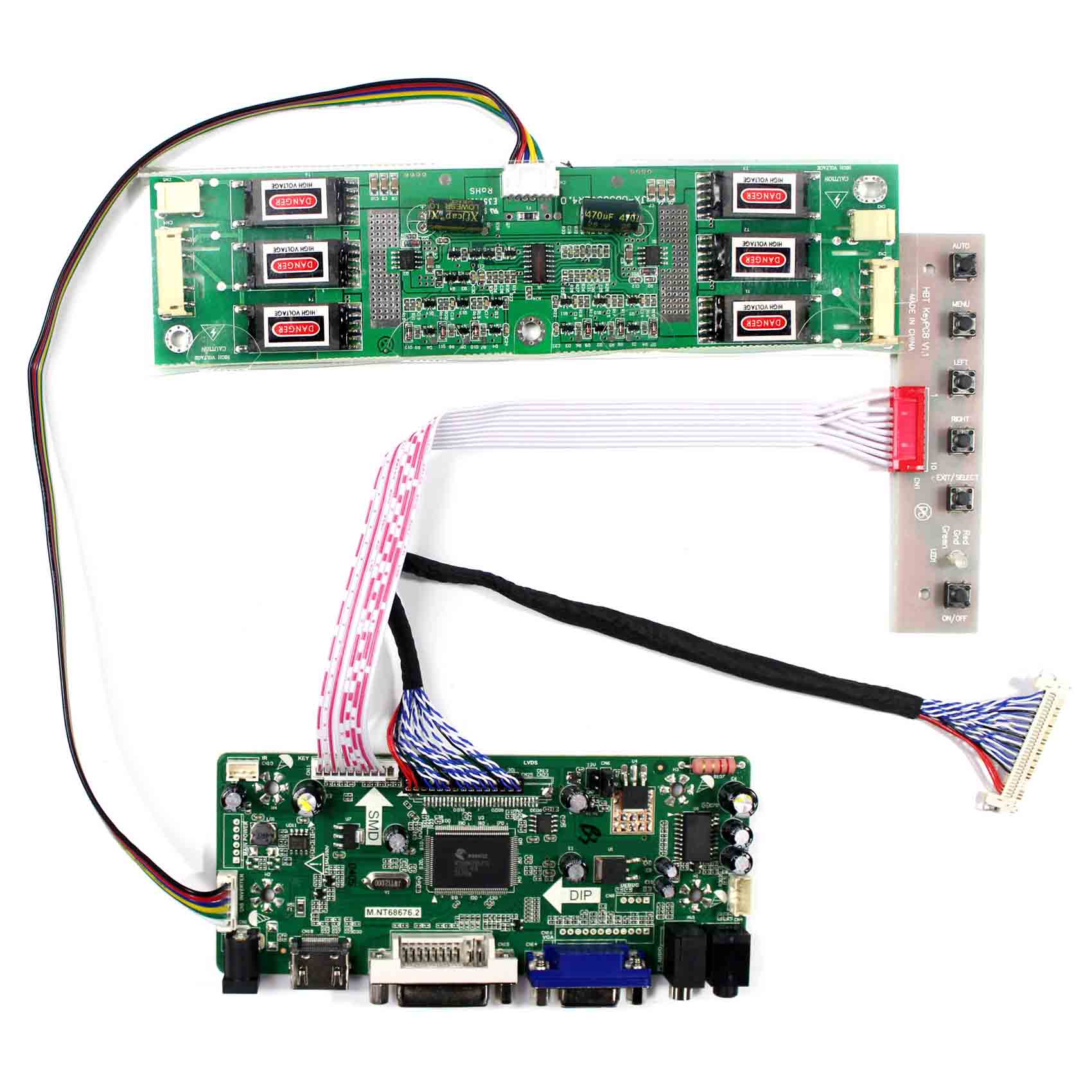 HDMI VGA DVI AUDIO Input LCD Controller Board  M.NT68676 Work For 20.1inch M201EW01  6CCFL 30Pin  1680x1050LCD Panel