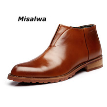 купить Misalwa Top Quality Simple Zipper Men Chelsea Boots Spring Autumn Shoes British Pointed Toe Leather Dress Wedding Ankle Boots дешево