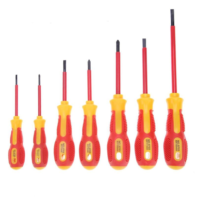 7pcs Insulated Screwdriver Set Withstand Voltage 1000V Precision Magnetic Phillips Slotted For Electrician Repair Hand Tool Kit
