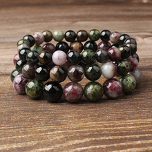 Lingxiang  4/6/8/10/12mm Popular color tourmaline bracelet yoga elastic string jewelry for both men and women