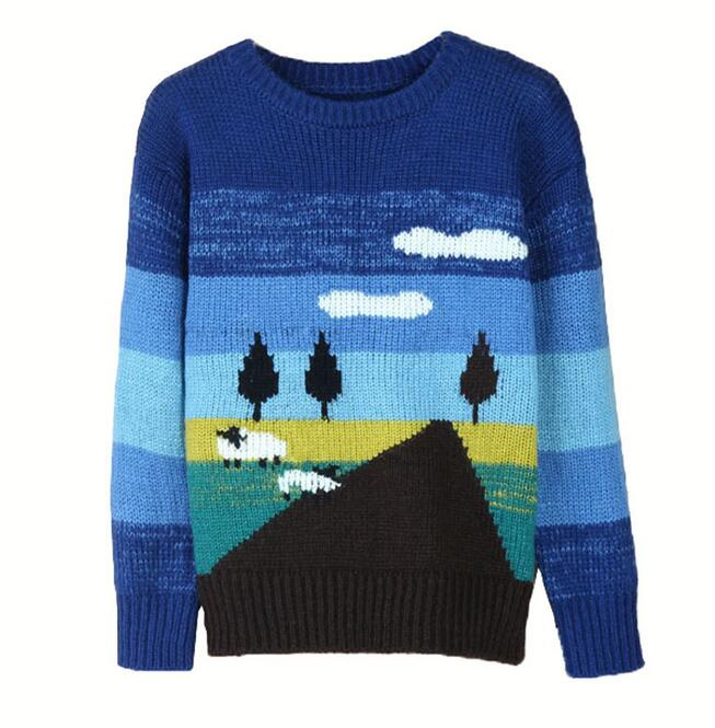 Autumn and winter women Cute sweater pullovers loose fresh cloud tree print knitted cotton christmas sweater High quality