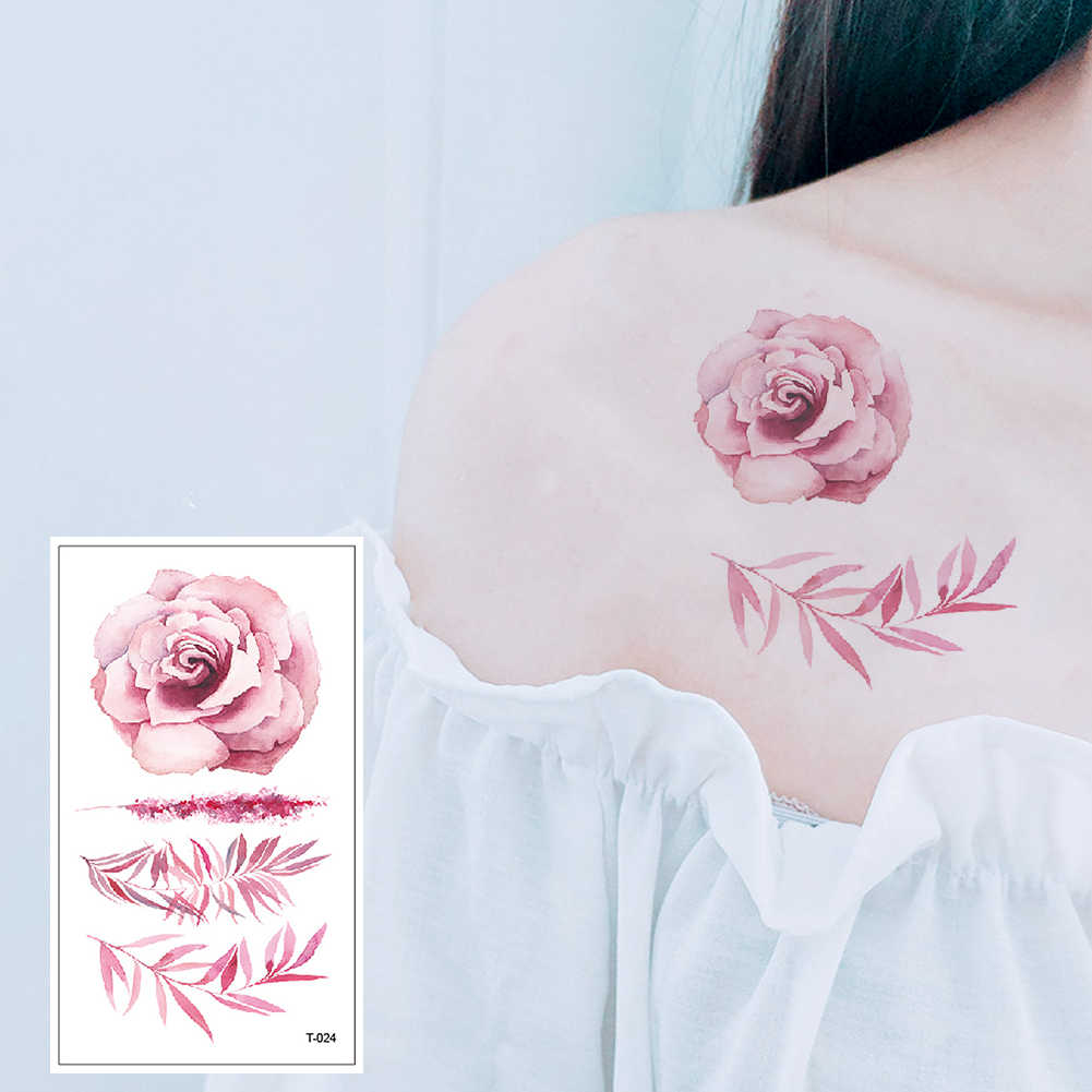 Red color Rose blossom flower brand new fashion waterproof temporary tattoo sticker tatoo tatto men women flash fake henna T-024