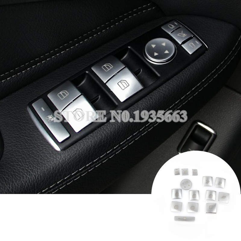 For Benz GLE W166 /Coupe C292 Inner Door Window Switch Button Cover 2015-2017 14pcs for benz cla c117 w117 inner door window switch button cover 2014 2017 14pcs