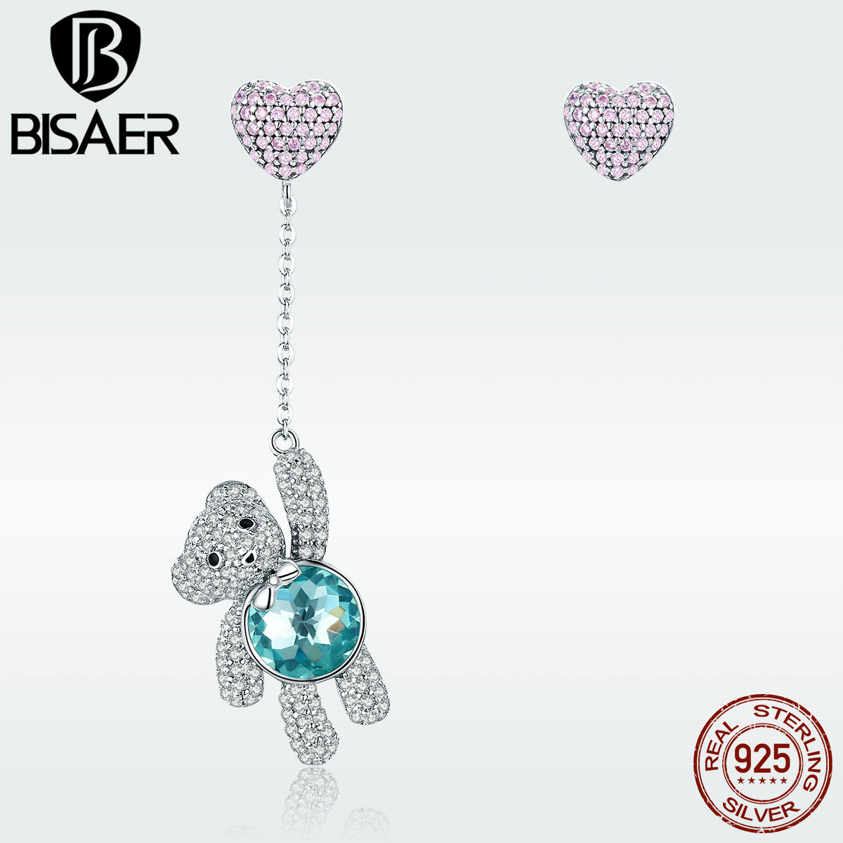 Love Teddy Bear Earrings 925 Sterling Silver Pink CZ Heart Balloon Blue Crystal Bear Drop Earrings For Girl Birthday Gift GXE388 pair of delicate heart faux pink crystal earrings for women