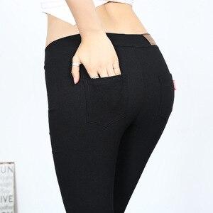 Image 4 - Mallas de tela tejidas para mujer, pantalones elásticos de cintura alta, ajustados, de Fitness, Color negro, D132, 2016