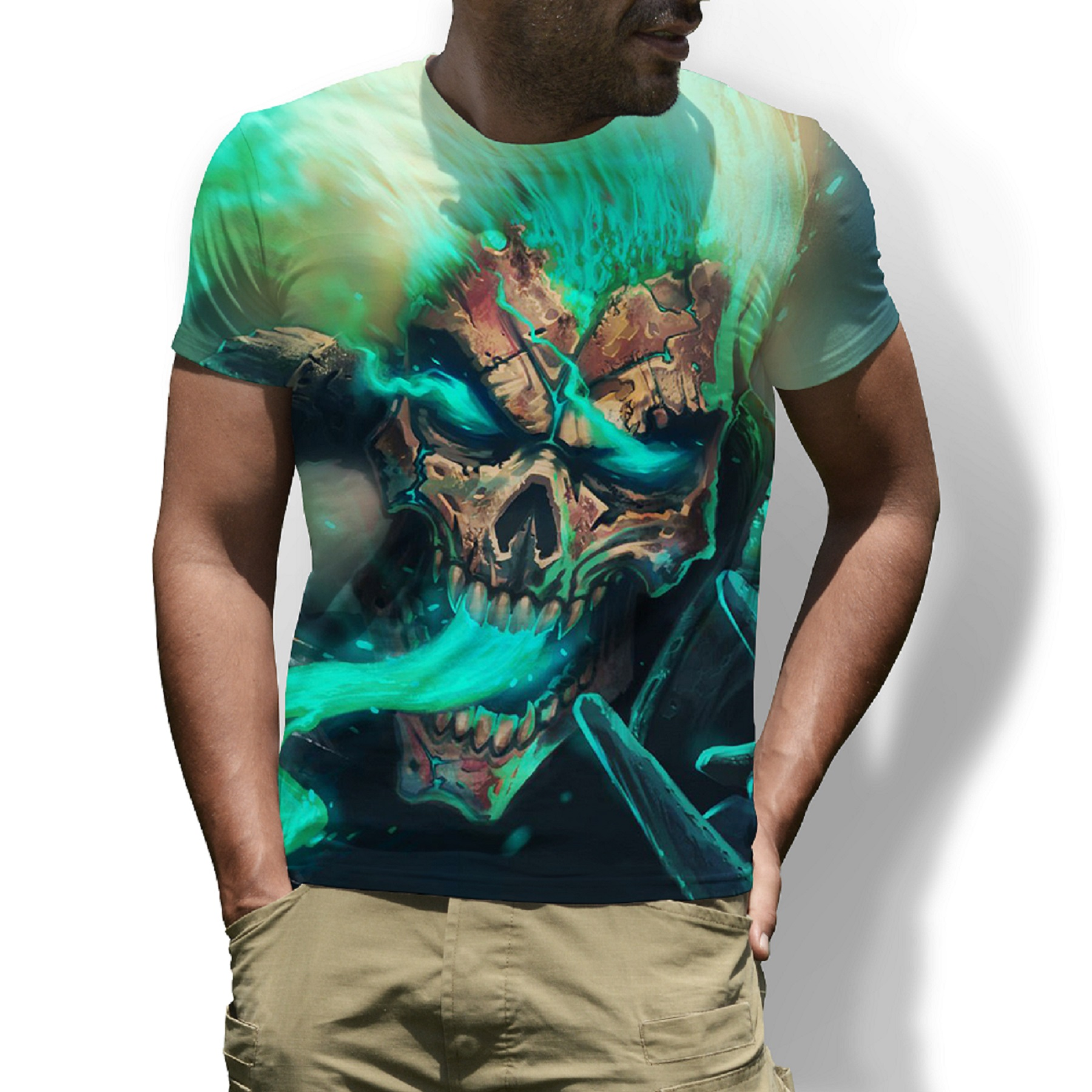 Newest Green SKull 3D Print Men's T-Shirts Printed Cool Funny T Shirt Men Short-sleeved Summer Tops