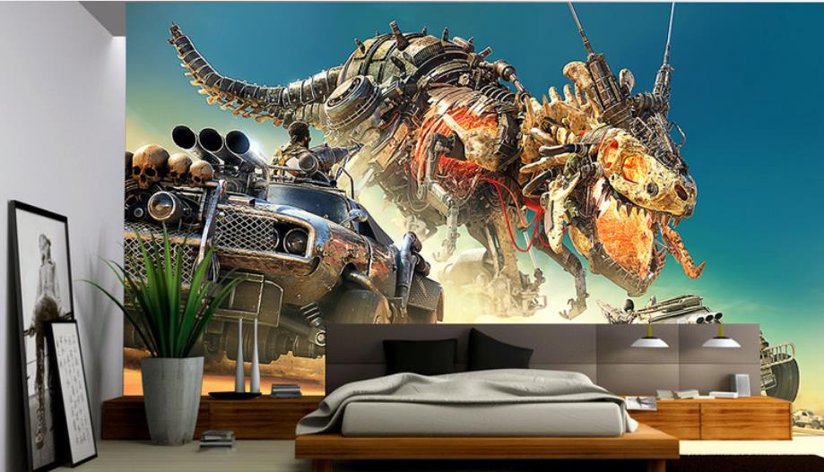 Wall papers Home Decor Custom European Painting Dinosaur car Wallpaper For Walls 3 D Photo Wallpaper