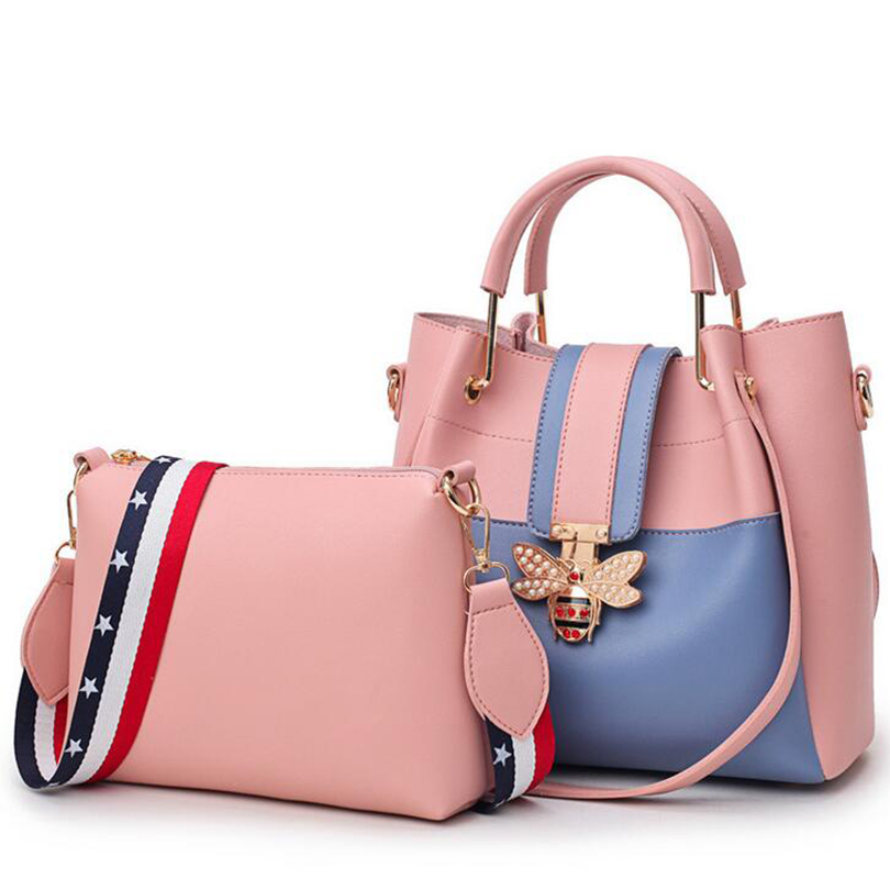 2018 New Fashion Composite Bag Female Shoulder Bag Pu Leather Women handbag Bee Design Luxury Top-Handle Bags For Women SGT02 3