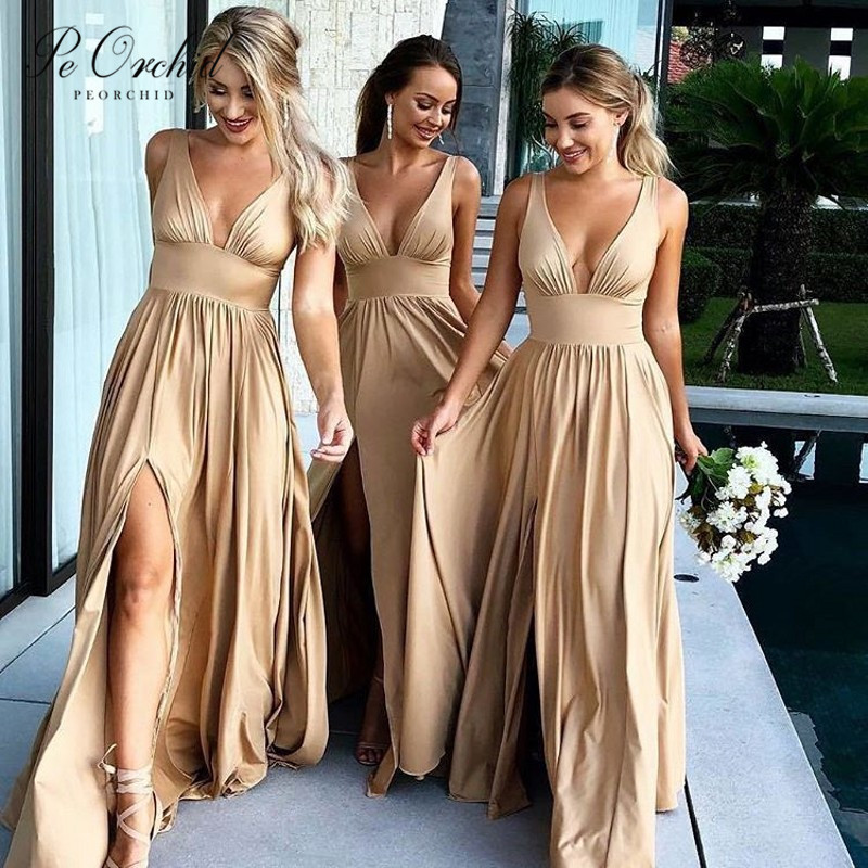 PEORCHID Champagne Bohemian   Bridesmaid     Dress   Split Sexy Robes Demoiselle Honneur Long Summer Beach Wedding Party   Dress   2019