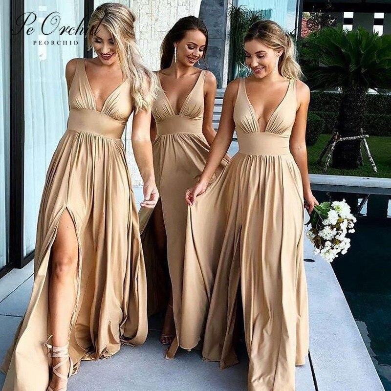 Peorchidée Champagne bohème robe de Demoiselle d'honneur Split Sexy Robes Demoiselle Honneur longue été plage robe de mariée 2019