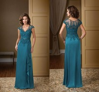 2015 High Quality Mother Of The Bride Evening Dress Teal Chiffon Cheap Women Formal Gowns Lace Top Design