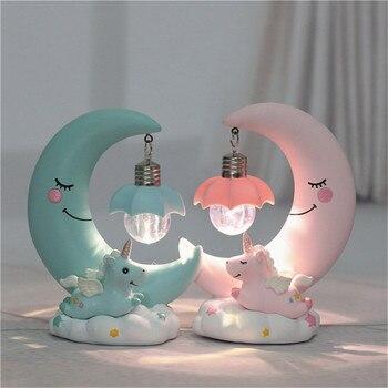 цена LED Night Light Resin Unicorn  Moon Cartoon Baby Lamp Romantic Bedroom Decor Night Lamp Baby Kids Birthday Xmas Gift онлайн в 2017 году