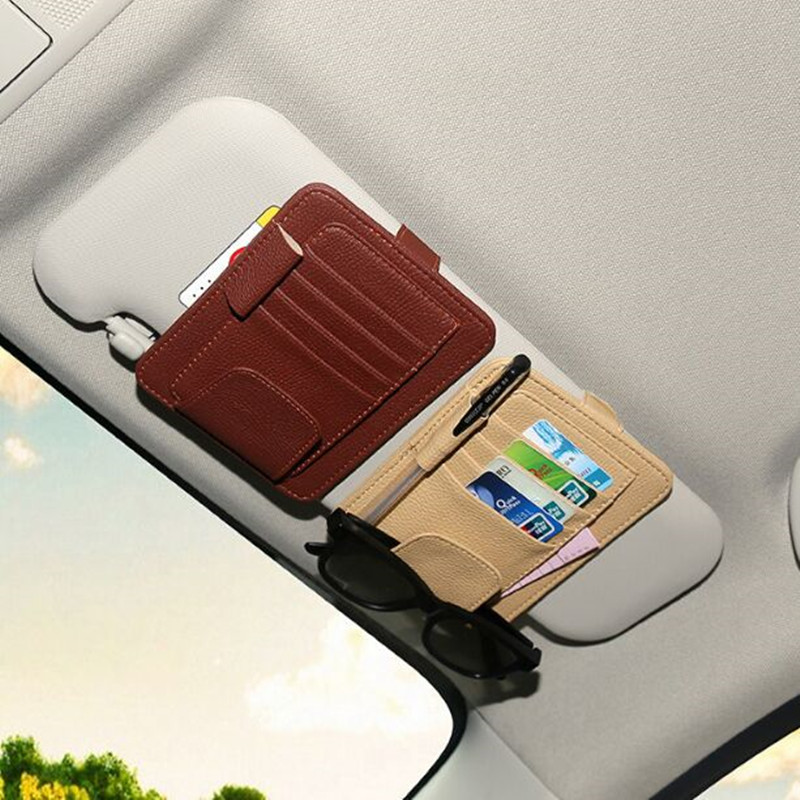 Car Sunglasses Credit Card Pen Holder Clip Multifunctional Storage Bag For Fiat Punto 500 Stilo Bravo Grande Punto Palio Panda for fiat punto fiat 500 stilo panda small hole ventilate wear resistance pu leather front