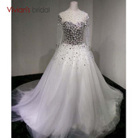 Luxury Beading With Crystal Long Wedding Dress High Neck Ball Gown Bridal Gowns Lace Up Back