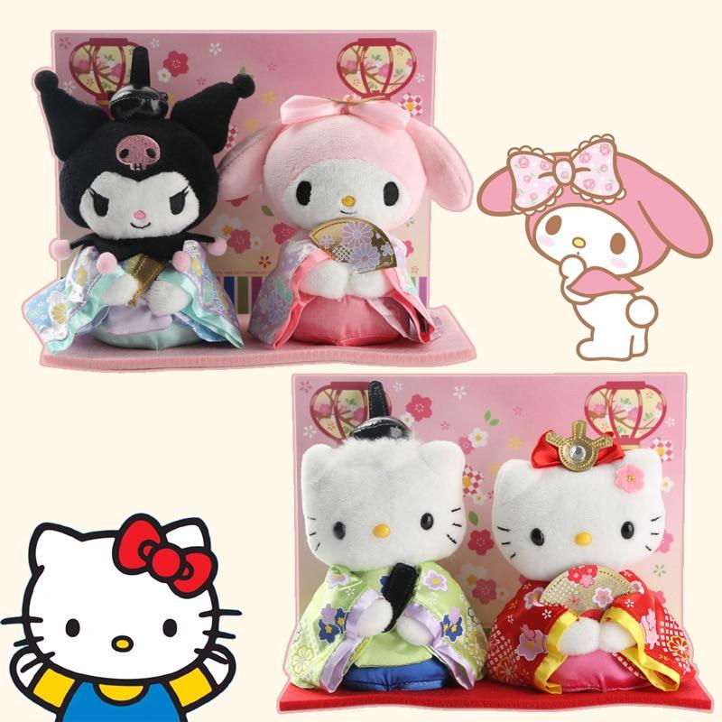 Cute 2pcs/set Cartoon Hello Kitty Melody With Kimono Plush Doll Soft Stuffed Toys Kawaii Wedding Dolls Girls Birthday Gifts new hello kt cat plush toy doll birthday gift sitting height 25cm hello kitty plush toys hello kitty toys doll for childre