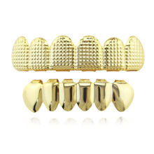 Hip Hop Gold Teeth Grillz Top & Bottom Grills Dental Custom Lattice Teeth Caps Halloween Cosplay Tooth Jewelry Party XHYT1011
