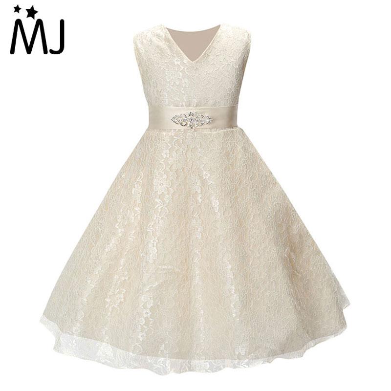 Girls Party Wear Clothing for Children Summer Sleeveless Lace Princess Wedding Dress...