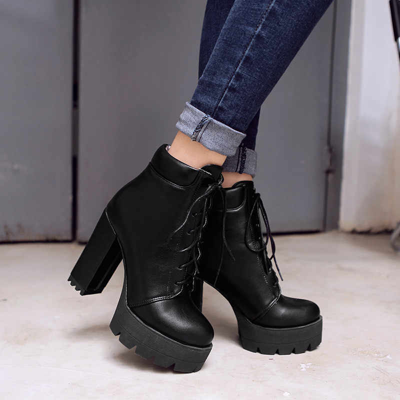 YMECHIC Lace Up Ankle Boots for Women Chunky Block High Heels Platform Ladies Punk Rock Gothic Shoes Winter Footwear Woman 2018