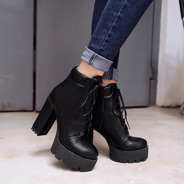 1c9d47a9a577 YMECHIC Lace Up Ankle Boots for Women Chunky Block High Heels Platform  Ladies Punk Rock Gothic Shoes Winter Footwear Woman 2018