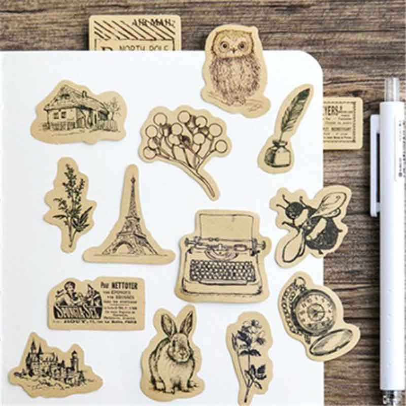 45pcs Vintage Animal Sticker Squirrel Owl Leaves Photo Album Scrapbook Decor Sticker Diy Handmade Gift Cards Stickers Arts Craft