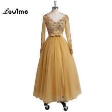 Short Tea-length Long Sleeves Gold Prom Dress