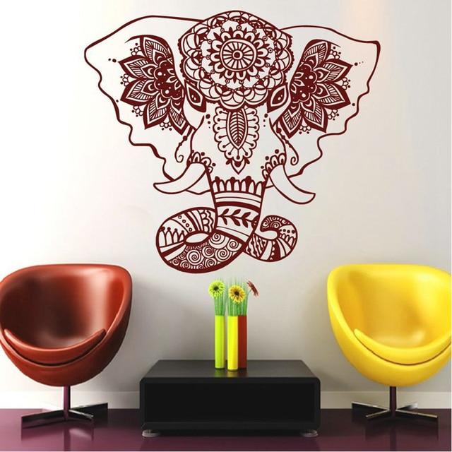 Elefant Buddha Zitate Namaste Wandtattoos Yoga Mandala Wandaufkleber Wohnzimmer DIY Wohnkultur Lotus Dekoration
