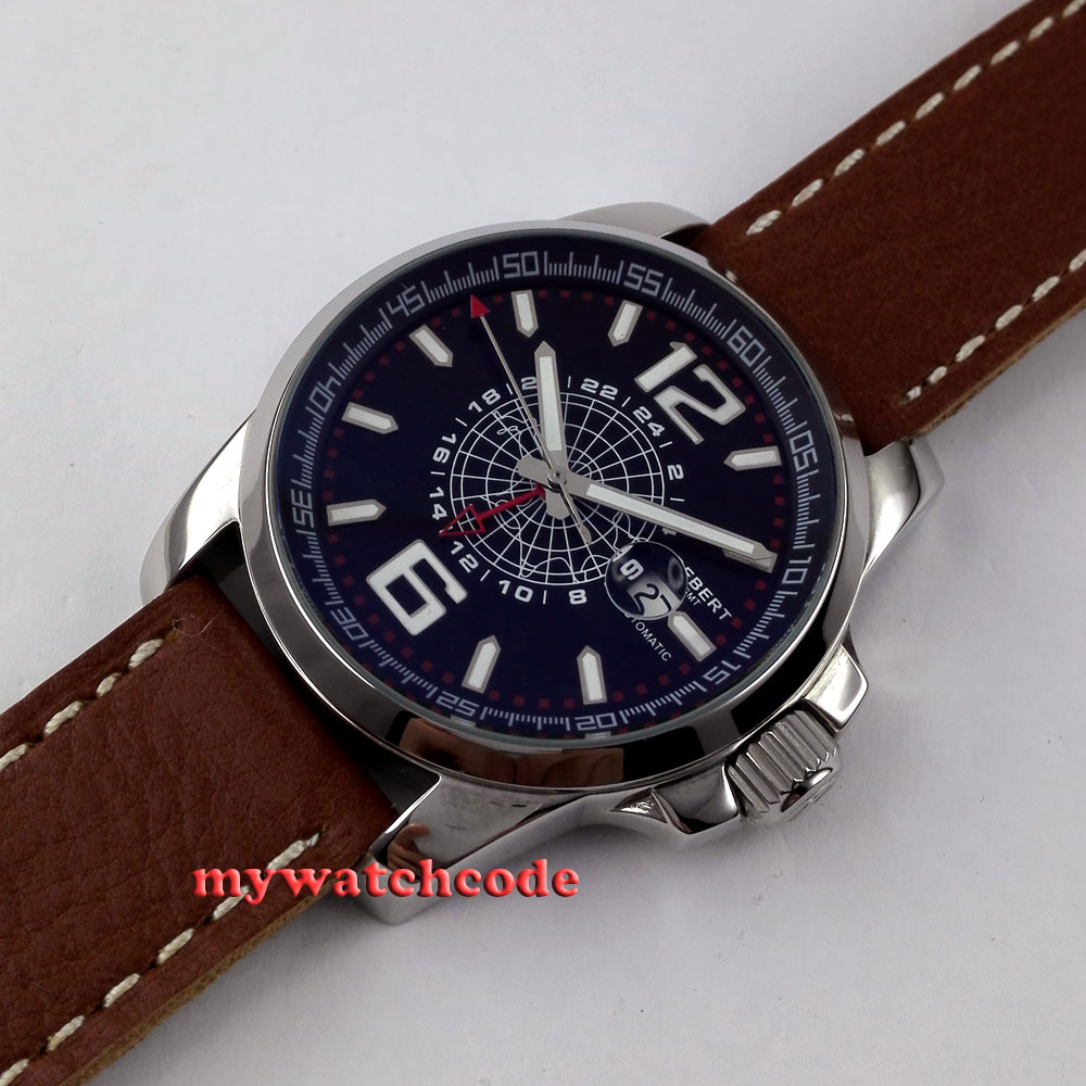 44mm Debert black dial date window GMT automatic leather strap mens watch D2