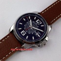 44mm Debert czarne okno daty wybierania GMT automatyczny skórzany pasek męski zegarek D2 w Zegarki mechaniczne od Zegarki na