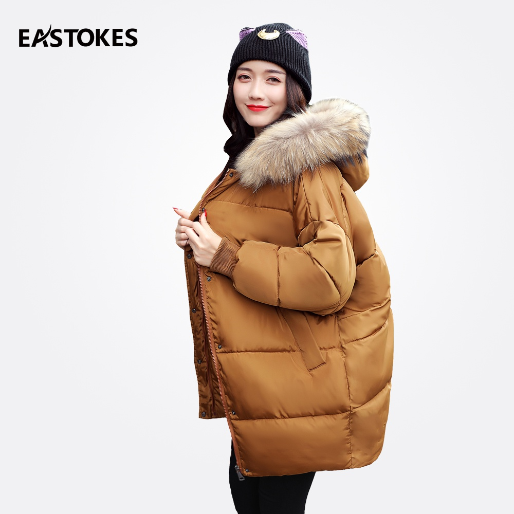 Fashion Women Winter Jackets With Large Fur Collar Mid-length Ladies Hooded Coats Zipper Parkas Female Outfits