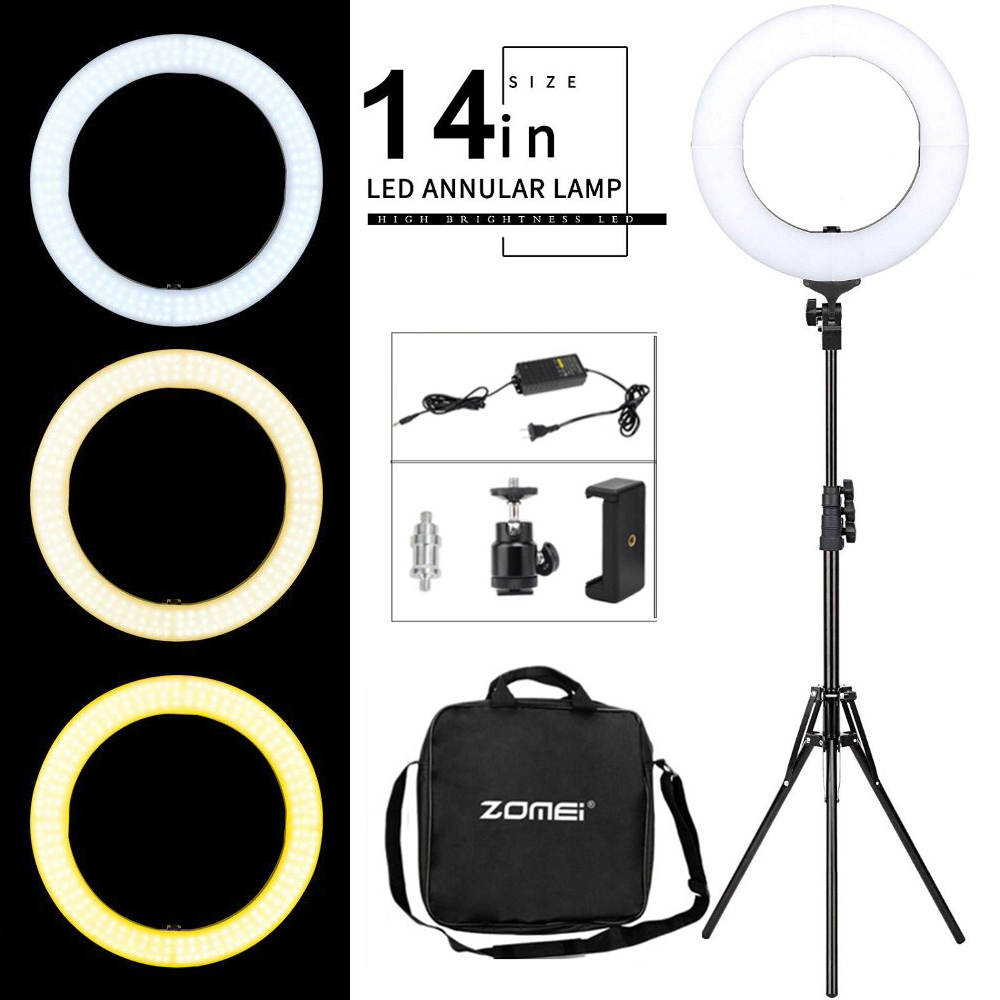 ZOMEI Ring Flash LED Bi-Color Dimmable Video Ring Light Photography Lighting For DSLR Photo/Studio Light /Live Makeup/Youtube