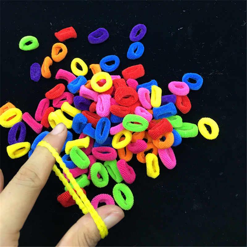 1 แพ็คขนาดเล็กแหวนวงผมสาวที่มีสีสันเชือกผม Tie เหงือกเด็กยางผมหางม้าอุปกรณ์เสริมผม headwear