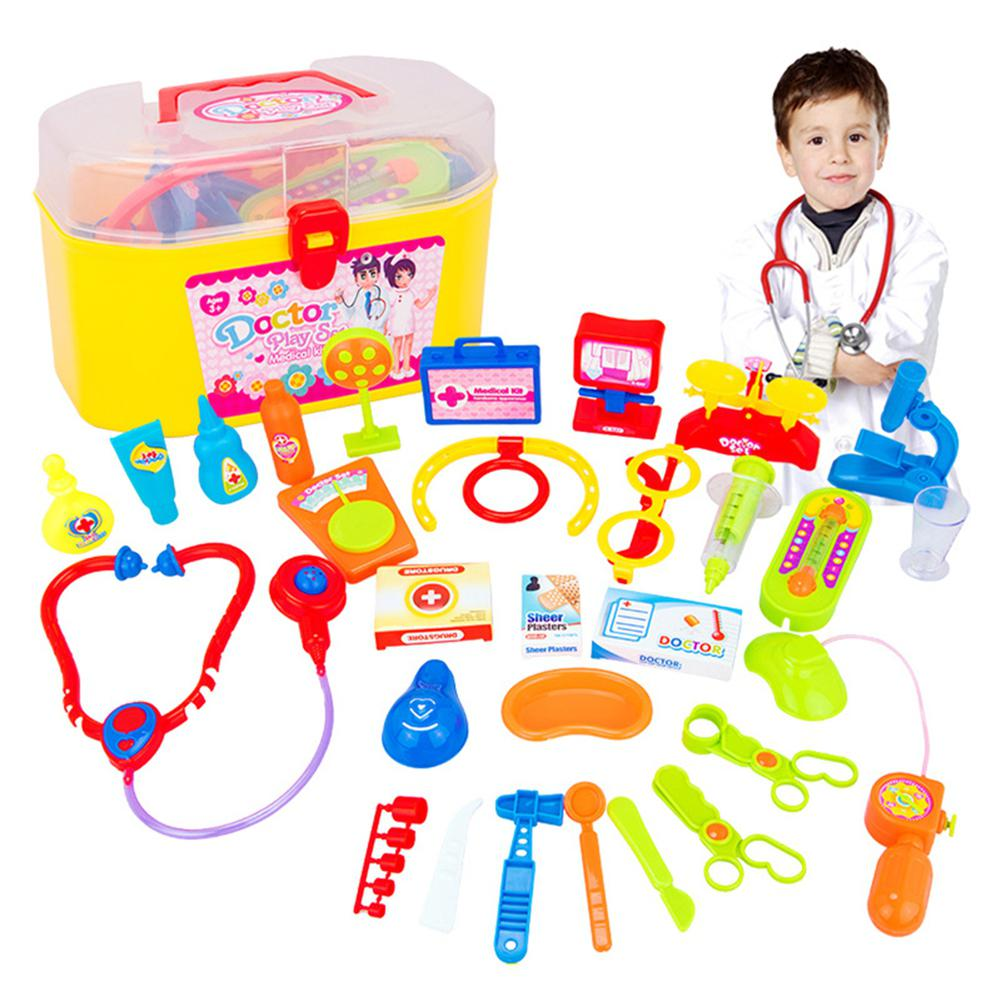 RCtown 30 Pcs Doctor Nurse Medical Kit Children Role playing Doctor Toy Suit with Carrying Case for Boys Girls Kid toys HWD30