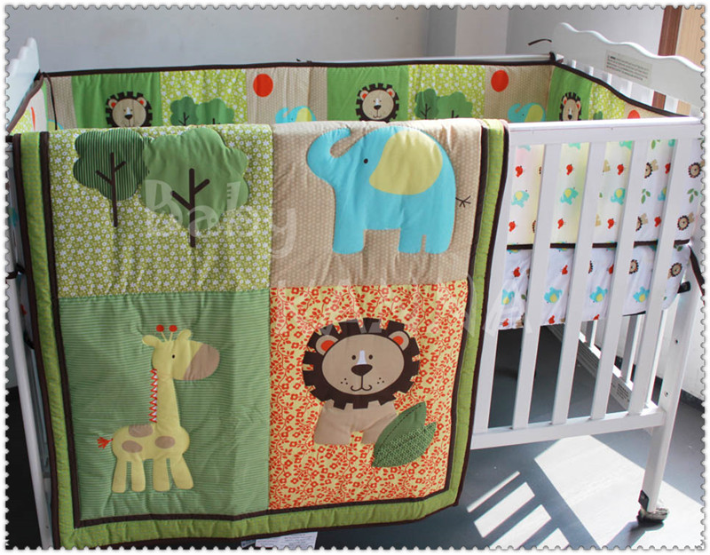 2016 Hot Sales 100% Cotton High Quality Cartoon Embroidery Baby Crib Bedding Set For Boys/Girls 6Pcs Quilt/Bumper/Mattress Cover  цены