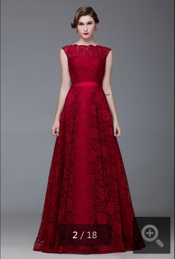 2015 mode rød tæppe scoop halsudskæring vinblonder aftenkjole - Særlige occasion kjoler - Foto 2